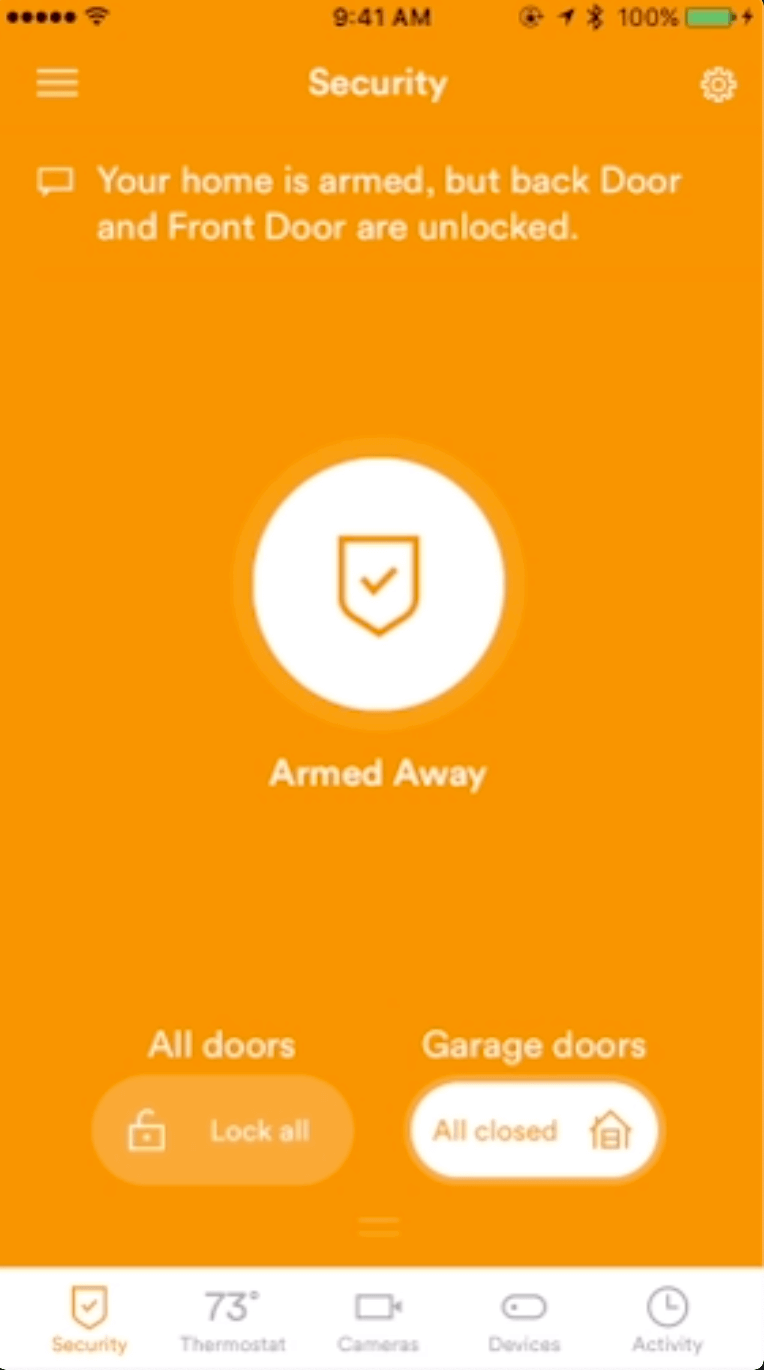 Smart lock vivint system smart home app display