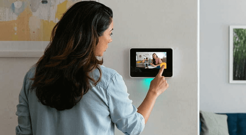 Woman using her Vivint Smart Hub