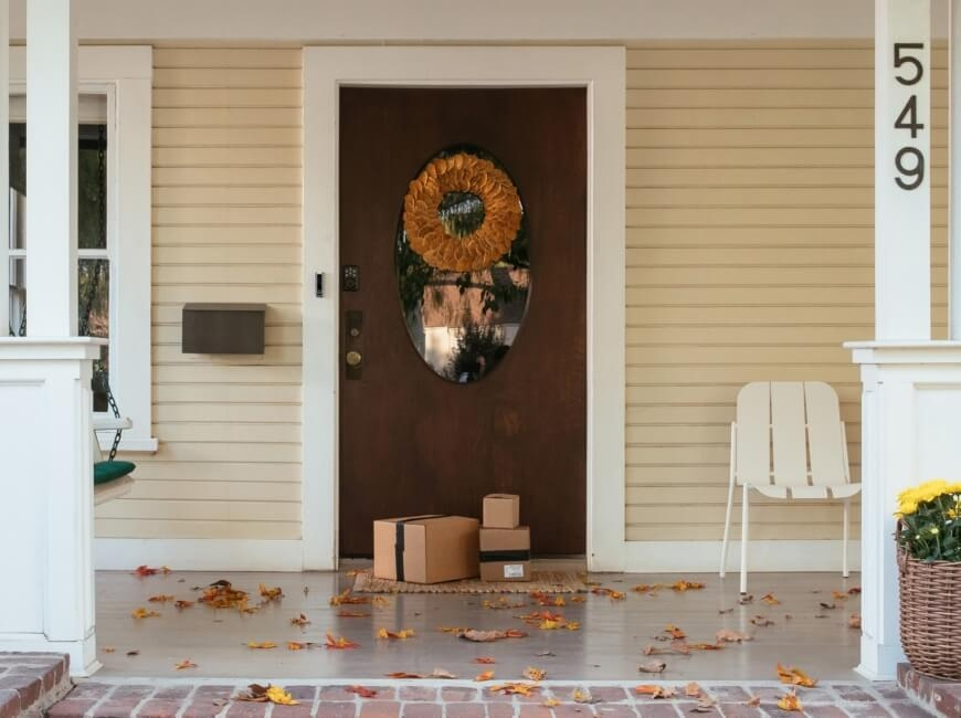 Front door of house in the fall
